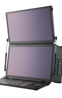 Dual screen transportable workstation with 4K display and Intel i9 processor