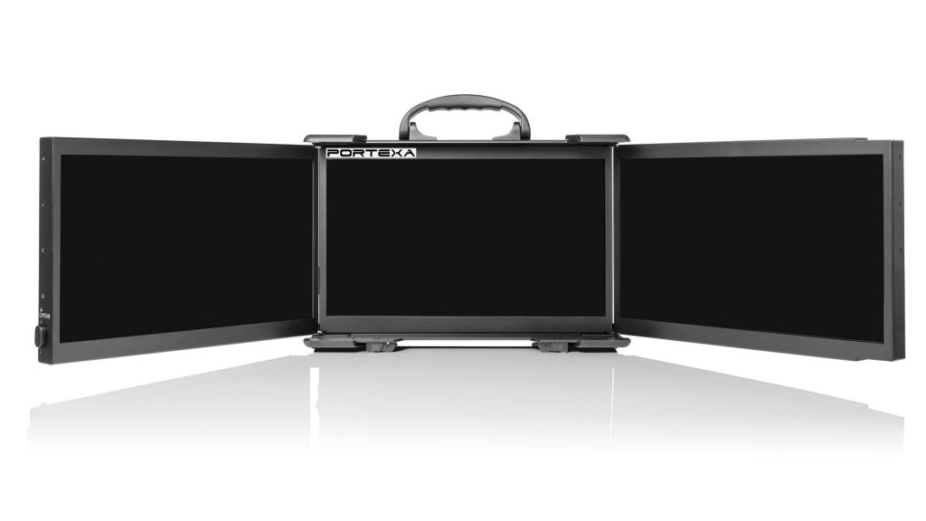 Three screen portable display system