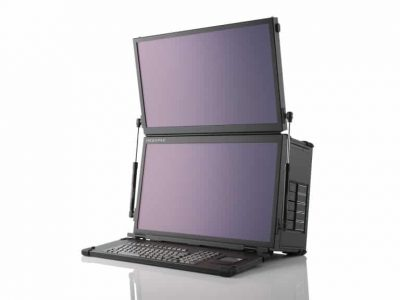 Dual Screen touch-screen portable server / graphics workstation